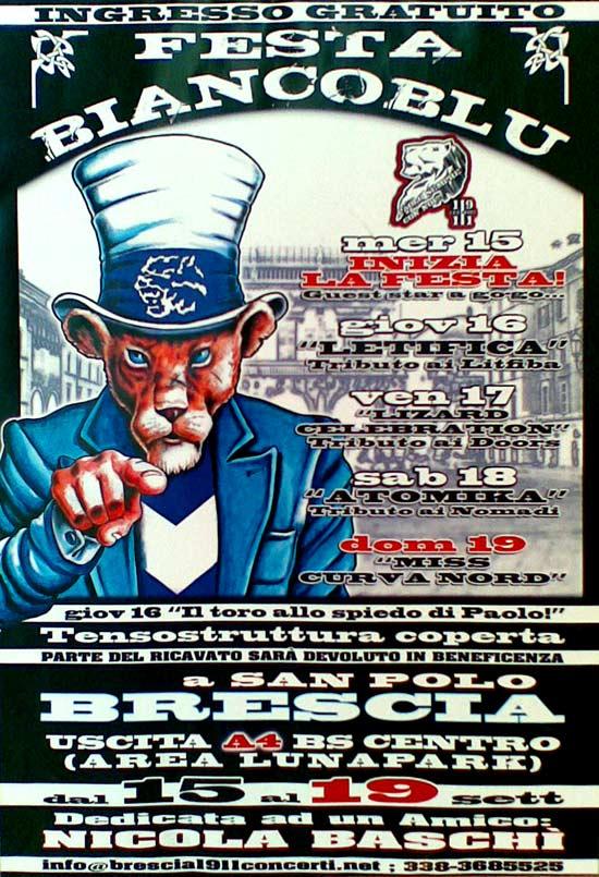 festa biancoblu a Brescia