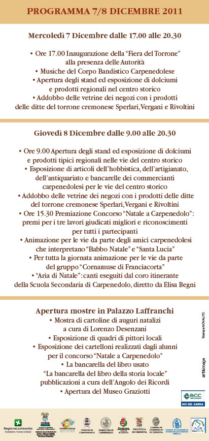 programma della festa del torrone a Carpenedolo