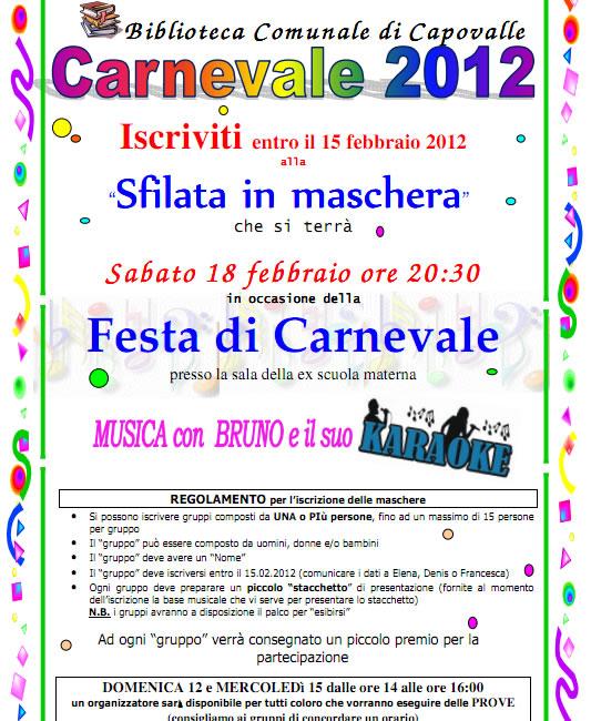 festa di carnevale a Capovalle