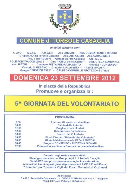 5a giornata del volontariato a Torbole Casaglia