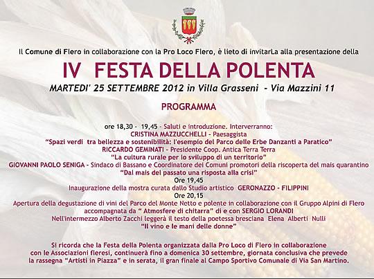 festa della polenta a Flero programma 1