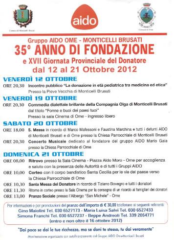 35° Anno di Fondazione AIDO Ome