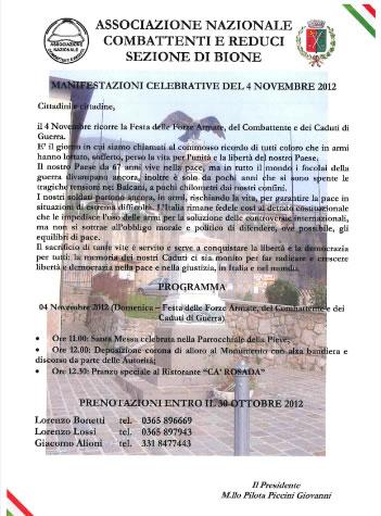 4 novembre a Bione