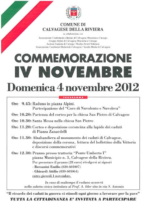 4 novembre a Calvagese della Riviera
