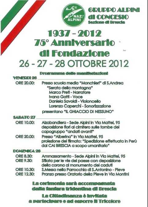 75 Anniversario di Fondazione a Concesio