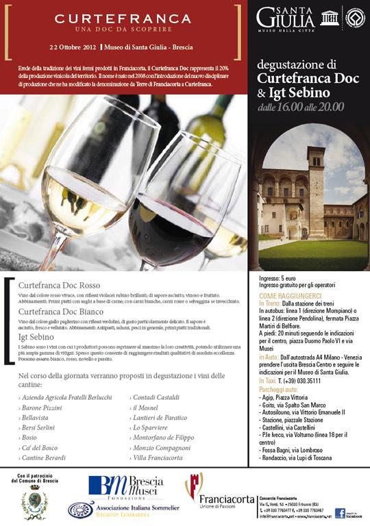 degustazione di vini Curtefranca DOC e IGT Sebino