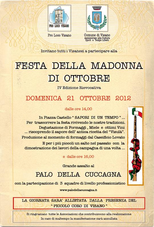 festa della madonna di Ottobre a Visano