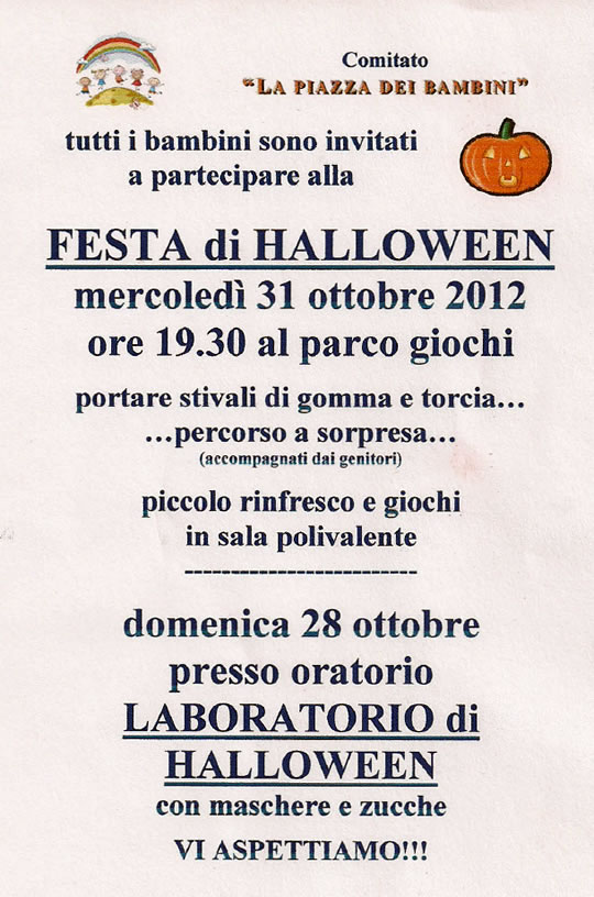 festa di halloween a Vallio Terme