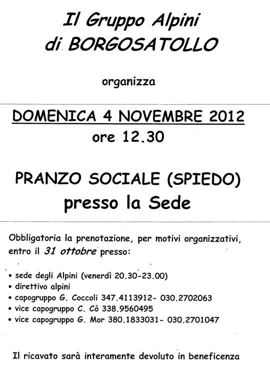 pranzo sociale alpini a Borgosatollo