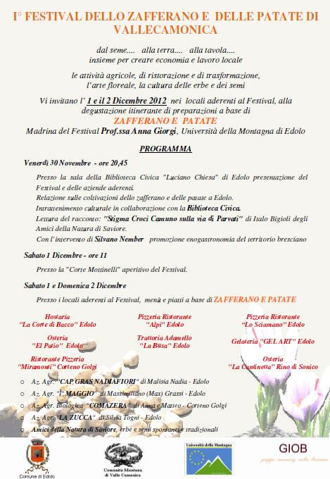 1 Festival dello Zafferano e delle Patate di Vallecamonica
