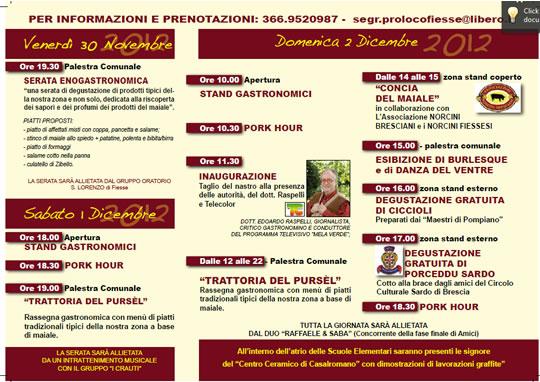 Programma Sagra del Pursel a Fiesse