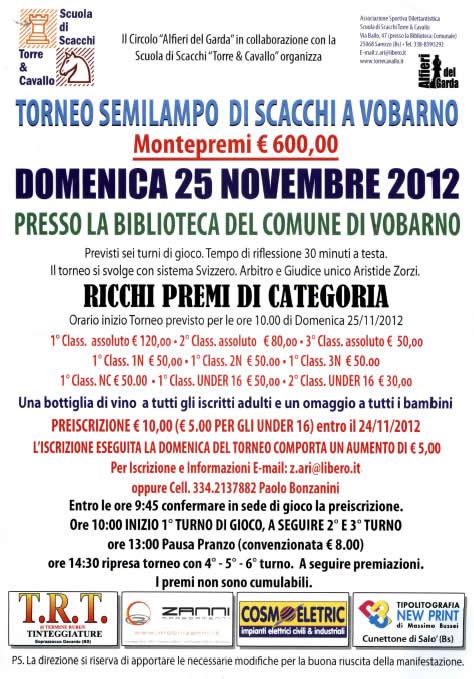 Torneo Semilampo di Scacchi a Vobarno