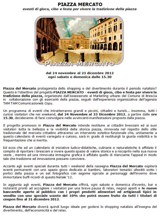 eventi in piazza mercato a Brescia
