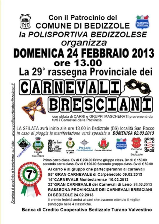 29 Rassegna Provinciale dei Carnevali Bresciani a Bedizzole