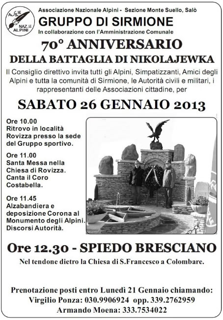 70 Anniversario della Battaglia di Nikolajewka a Sirmione