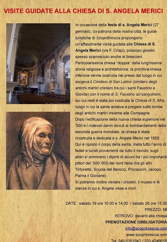 Sabato 19, visite guidate a S. Angela Merici