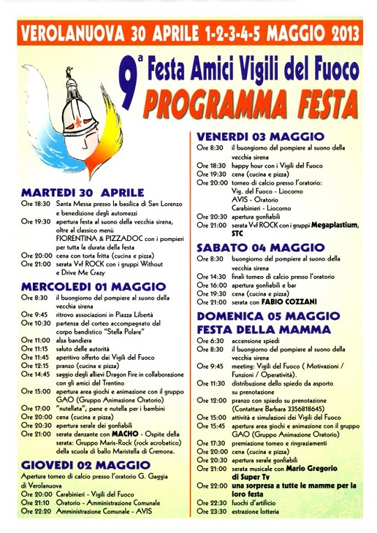 9 Festa Amici Vigili del Fuoco 2013 Verolanuova