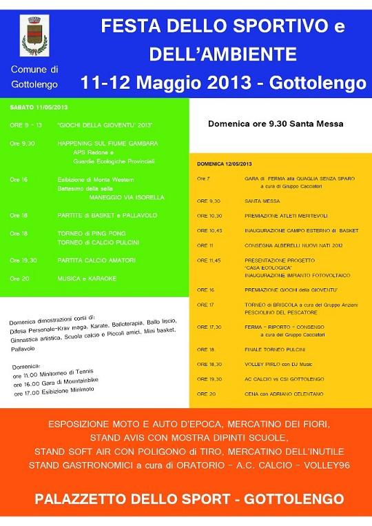 Festa dello sportivo e dell'ambiente  11-12 Maggio 2013 Gottolengo 1