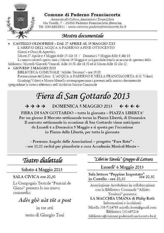 Feste Patronali e Fiera di San Gottardo 2013 Paderno Franciacorta