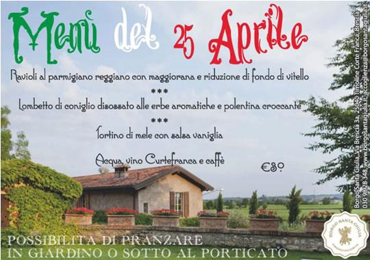 Menu del 25 Aprile al Borgo S.Giulia