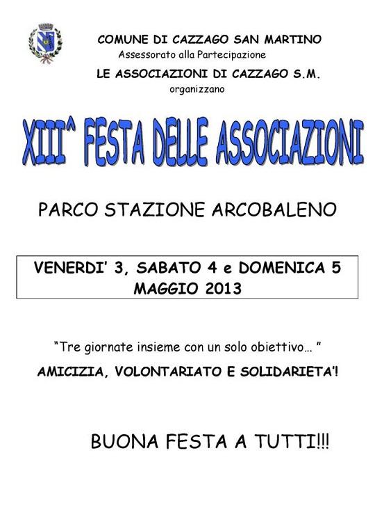 XIII Festa delle Associazioni 2013 a Cazzago San Martino locandina