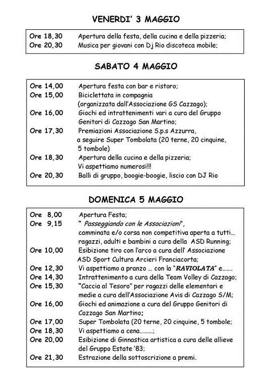 XIII Festa delle Associazioni 2013 a Cazzago San Martino programma