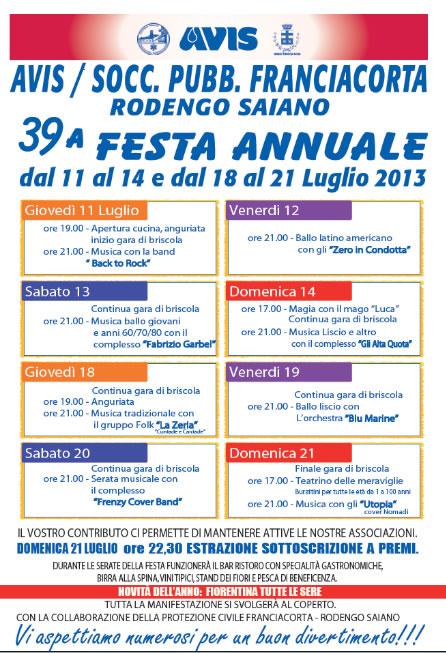 39 Festa Annuale Avis a Rodengo Saiano