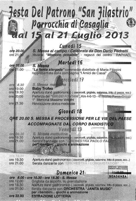 Festa del Patrono San Filastrio a Torbole Casaglia
