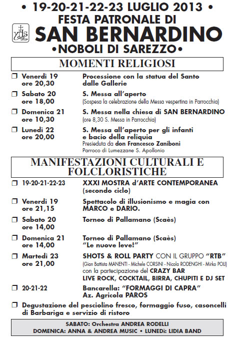 Festa Patronale di San Bernardino a Sarezzo