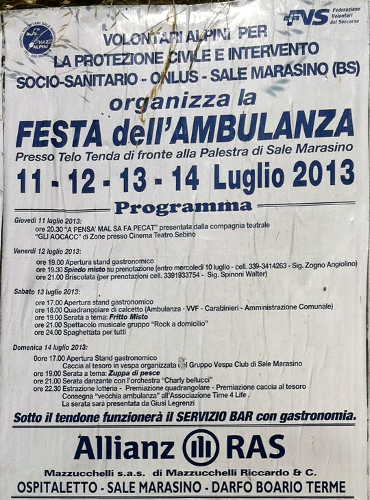 festa ambulanza a Sale Marasino