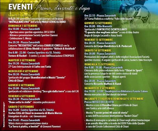 35 Palio delle Quadre Chiari 2013 programma