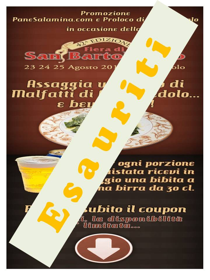 Coupon Carpenedolo Esauriti