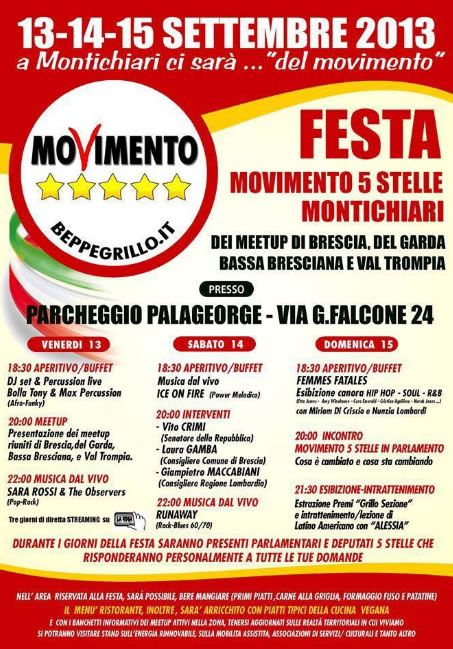 Festa Movimento 5 Stelle a Montichiari