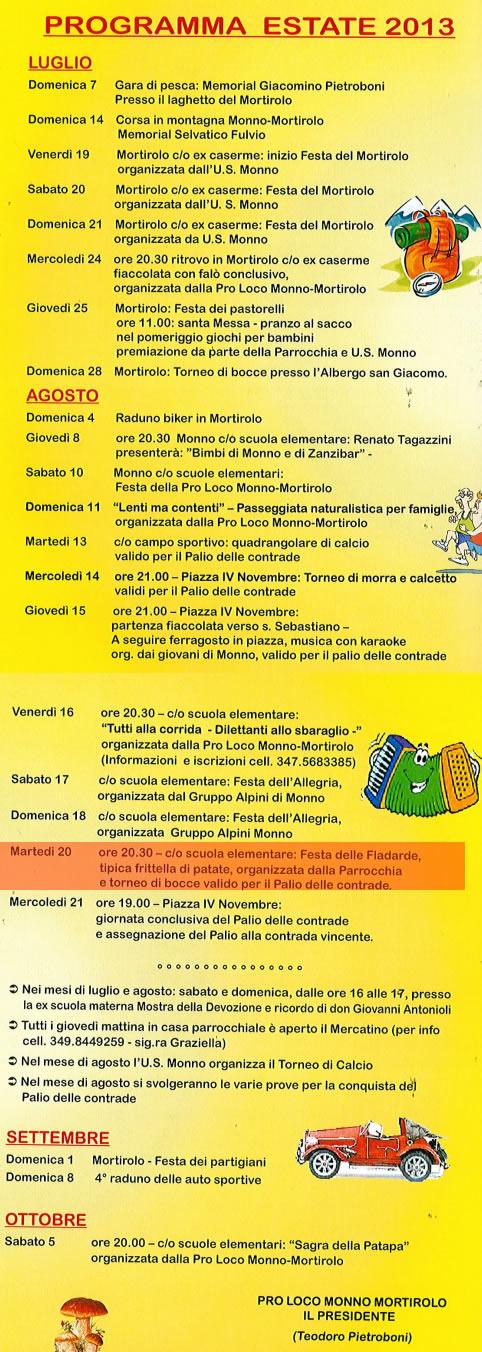 festa delle fladarde a Monno