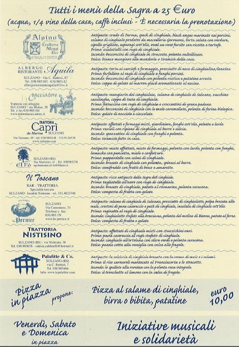 Sagra del Cinghiale a Sulzano