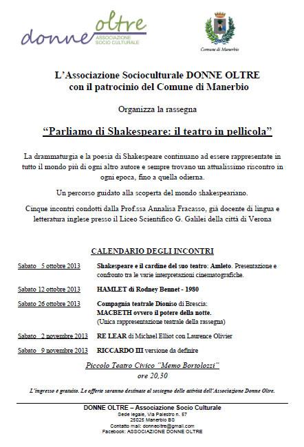 Parliamo di Shakespeare a Manerbio