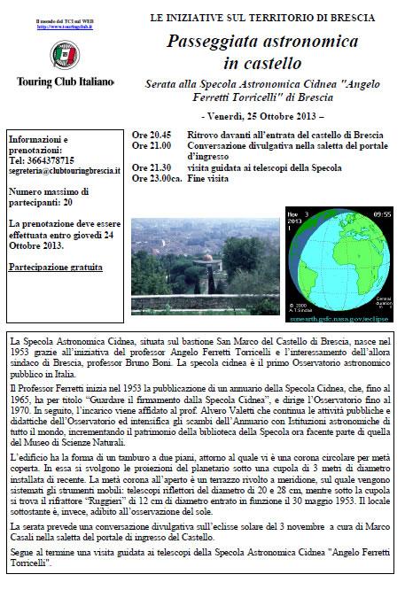 Passeggiata Astronomica in Castello