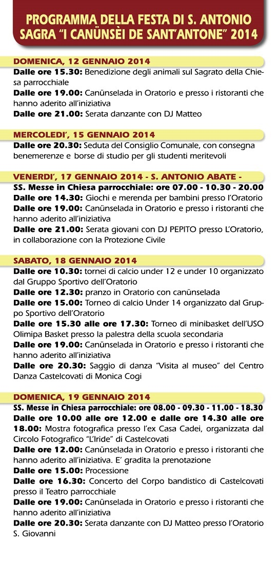 Programma B - Sagra I CANUNSEI DE SANT'ANTONE Castelcovati 2014 - definitivo