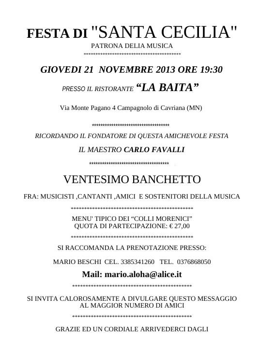 Festa di Santa Cecilia a Campagnolo di Cavriana (MN)