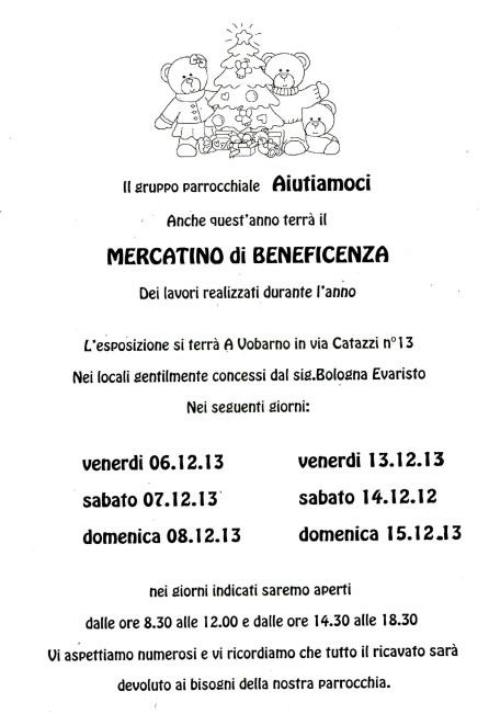 Mercatini di Beneficienza a Vobarno