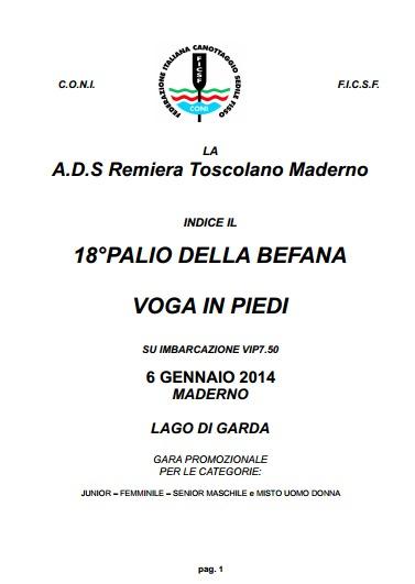18° palio della Befana Toscolano Maderno 2014
