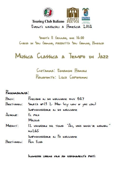Musica Classica a Tempo di Jazz a Brescia