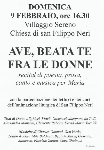 Ave Beata Te Fra le Donne al Villaggio Sereno