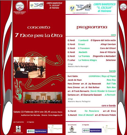 Concerto 7 Note per la Vita a Brescia