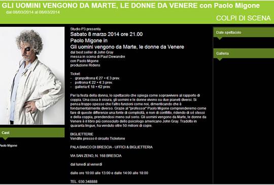 Spettacolo Paolo Migone a Brescia
