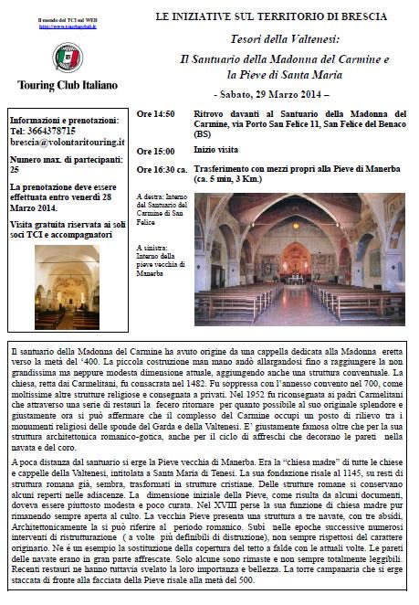 Il Santuario della Madonna del Carmine e la Pieve di S.Maria con TCI