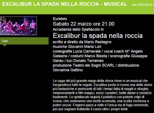 Musical Excalibur a Brescia