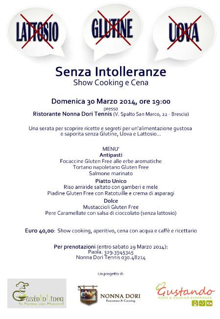 Senza Intolleranze Show Cooking e Cena a Brescia