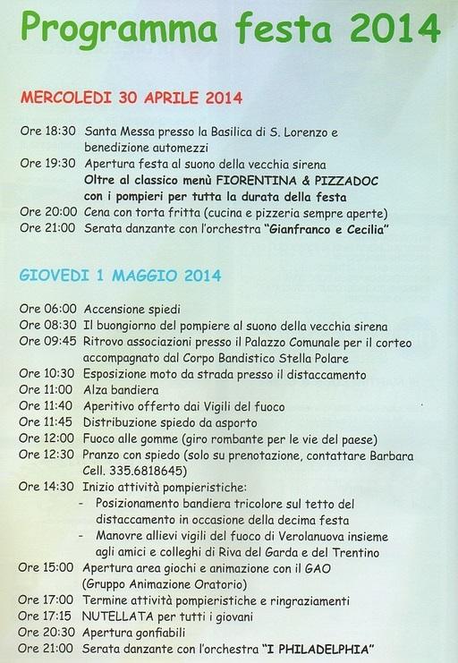 10 festa Amici dei Vigili del Fuoco di Verolanuova Programmma A