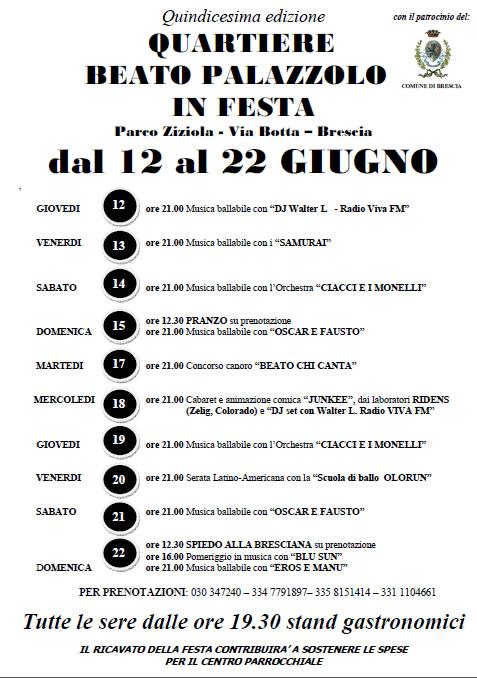 Quartiere Beato Palazzolo in Festa a Brescia